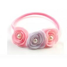 Enfeite faixa meia de seda Rosas de feltro