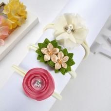 kit trio Tiara Faixa de cabelo Flor bege e rosa